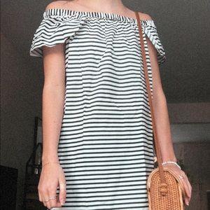 Striped black and white dress